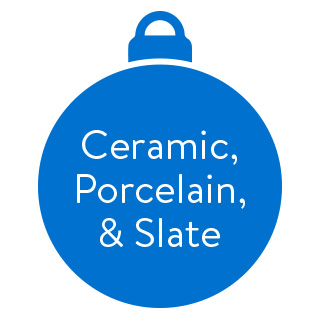 Ceramic, Slate, and Porcelain Ornaments