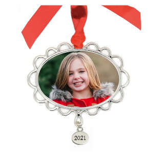 Metal Petal Frame Ornament with Tag