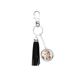 Black Tassel Silver Keychain