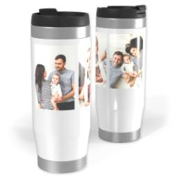 Thumbnail for Premium Tumbler Photo Travel Mug, 14oz with 3 Collage With Text design 1