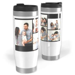 Thumbnail for Premium Tumbler Photo Travel Mug, 14oz with 6 Collage With Text design 1