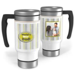 Thumbnail for Stainless Steel Photo Travel Mug, 14oz with Best Dad Stripes design 1