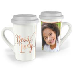 Thumbnail for Premium Grande Photo Mug with Lid, 16oz with Boss Lady design 1