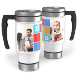 Thumbnail for Stainless Steel Photo Travel Mug, 14oz with Dad Blocks design 1