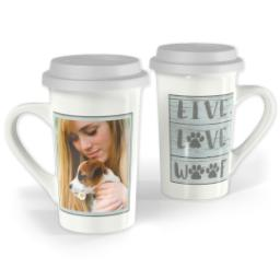 Thumbnail for Premium Grande Photo Mug with Lid, 16oz with Live Love Woof design 1