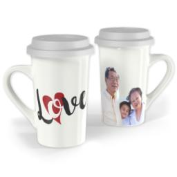 Thumbnail for Premium Grande Photo Mug with Lid, 16oz with Love Hearts design 1