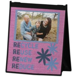 Thumbnail for Reusable Grocery Bag with Recycle Fabric Pink design 2