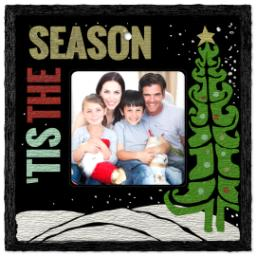 Thumbnail for Slate Square Ornament, Tis The Season with Full Photo design 1