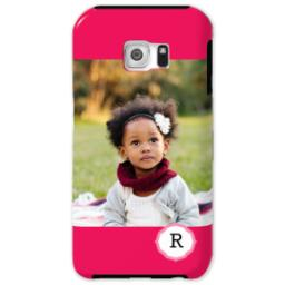 Thumbnail for Samsung Galaxy S6 Tough Case with Girly Pink Monogram design 1