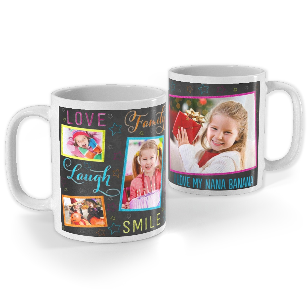 11oz. Personalized Photo Ceramic Mugs (various designs) (White)
