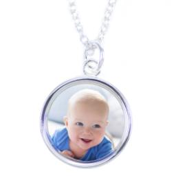 Thumbnail for Sterling Silver Plated Round Necklace with Full Photo design 2