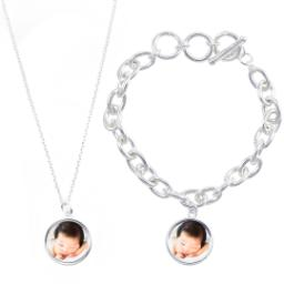 Thumbnail for Sterling Silver Plated Round Necklace & Bracelet Set with Full Photo design 1