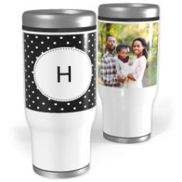 Thumbnail for Stainless Steel Tumbler, 14oz with Custom Color Monogram Mini Dots design 1