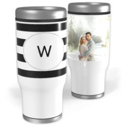 Thumbnail for Stainless Steel Tumbler, 14oz with Custom Color Monogram Stripes design 1