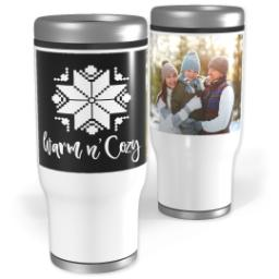 Thumbnail for Stainless Steel Tumbler, 13oz with Custom Color Warm and Cozy design 1