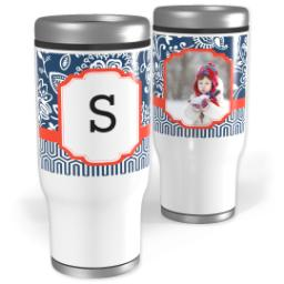 Thumbnail for Stainless Steel Tumbler, 14oz with Fancy Brocade Monogram design 1