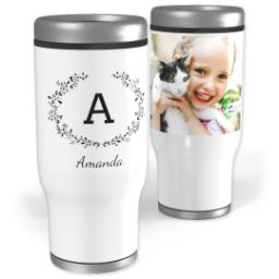 Thumbnail for Stainless Steel Tumbler, 14oz with Laurel Monogram design 1