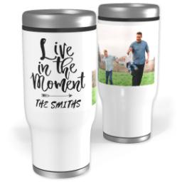 Thumbnail for Stainless Steel Tumbler, 13oz with Live In The Moment design 1