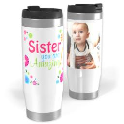 Thumbnail for Premium Tumbler Photo Travel Mug, 14oz with Amazing Sister design 1