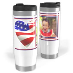 Thumbnail for Premium Tumbler Photo Travel Mug, 14oz with Americana Heart design 1