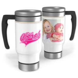 Thumbnail for Stainless Steel Photo Travel Mug, 14oz with Best Coach Pink design 1