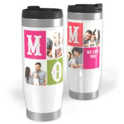 Thumbnail for Premium Tumbler Photo Travel Mug, 14oz with Blocks Mom design 1