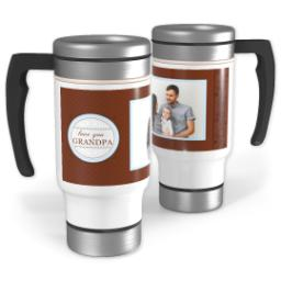Thumbnail for Stainless Steel Photo Travel Mug, 14oz with Chocolate Flourish Grandpa design 1