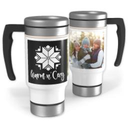 Thumbnail for Stainless Steel Photo Travel Mug, 14oz with Custom Color Warm and Cozy design 1