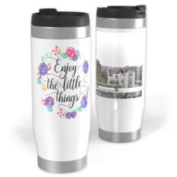 Thumbnail for Premium Tumbler Photo Travel Mug, 14oz with Enjoy Little Things Bouquet design 1