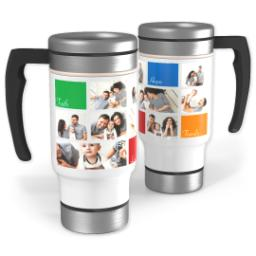Thumbnail for Stainless Steel Photo Travel Mug, 14oz with Family Values design 1