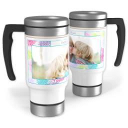Thumbnail for Stainless Steel Photo Travel Mug, 14oz with Flower Frame design 1