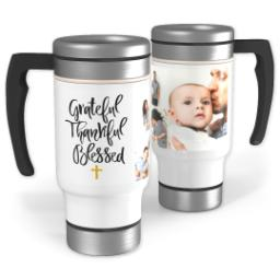 Thumbnail for Stainless Steel Photo Travel Mug, 14oz with Grateful Thankful Blessed Cross design 1