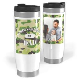 Thumbnail for Premium Tumbler Photo Travel Mug, 14oz with Greatest Dad Camo design 1