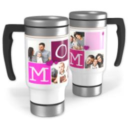 Thumbnail for Stainless Steel Photo Travel Mug, 14oz with Heart Blocks Mom design 1