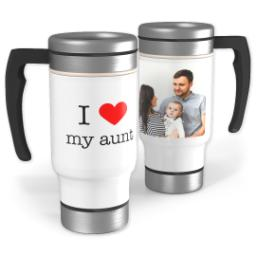 Thumbnail for Stainless Steel Photo Travel Mug, 14oz with I Heart My Aunt design 1