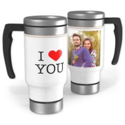 Thumbnail for Stainless Steel Photo Travel Mug, 14oz with I Heart You design 1