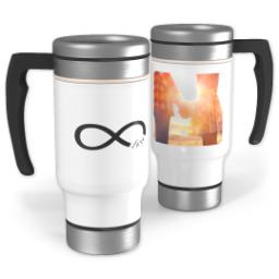 Thumbnail for Stainless Steel Photo Travel Mug, 14oz with Infinity Love design 1