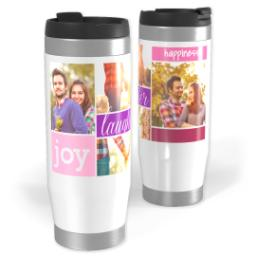 Thumbnail for Premium Tumbler Photo Travel Mug, 14oz with Joy And Laughter Pink design 1