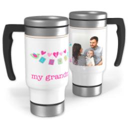 Thumbnail for Stainless Steel Photo Travel Mug, 14oz with Love Birds Grandma design 1