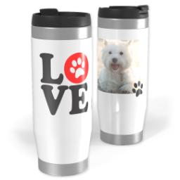 Thumbnail for Premium Tumbler Photo Travel Mug, 14oz with Love Paws design 1