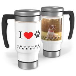 Thumbnail for Stainless Steel Photo Travel Mug, 14oz with Love Pets design 1