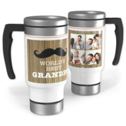 Thumbnail for Stainless Steel Photo Travel Mug, 14oz with Man Cave Grandpa design 1