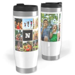 Thumbnail for Premium Tumbler Photo Travel Mug, 14oz with Monogram Black design 1