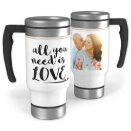 Thumbnail for Stainless Steel Photo Travel Mug, 14oz with Need Love design 1