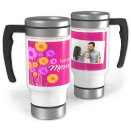 Thumbnail for Stainless Steel Photo Travel Mug, 14oz with Pink Bouquet Mom design 1