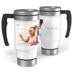 Thumbnail for Stainless Steel Photo Travel Mug, 14oz with Pink Heart design 1