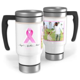 Thumbnail for Stainless Steel Photo Travel Mug, 14oz with Pink Hope Faith Love design 1