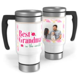 Thumbnail for Stainless Steel Photo Travel Mug, 14oz with Plaid Grandma design 1