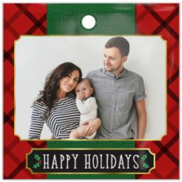 Thumbnail for Glass Square Photo Ornament with Elegant Plaid Holiday design 1