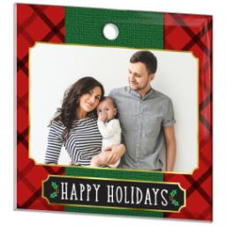 Thumbnail for Glass Square Photo Ornament with Elegant Plaid Holiday design 2